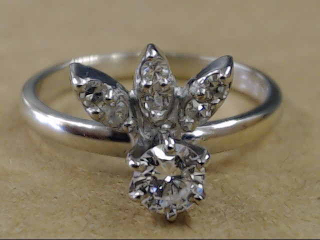 VINTAGE DIAMOND ENGAGE WED FLORAL RING SOLID 14K WHITE GOLD SZ 5.75
