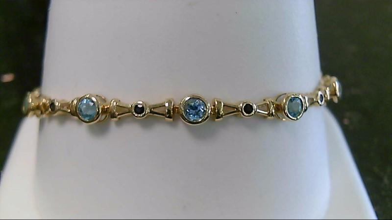 "7"" Synthetic Blue Topaz Gold-Stone Bracelet 14K Yellow Gold 5.9g"