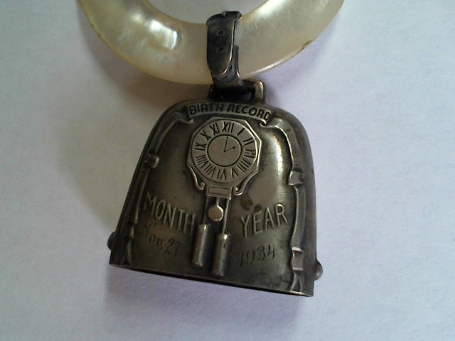 BIRTH RECORD SILVER AND MOTHER OF PEARL