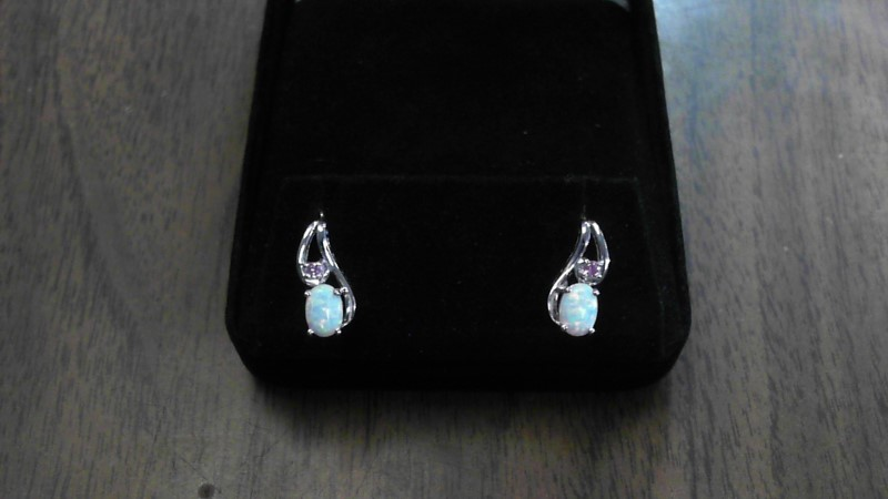 Synthetic Opal Silver-Stone Earrings 925 Silver 1.6dwt