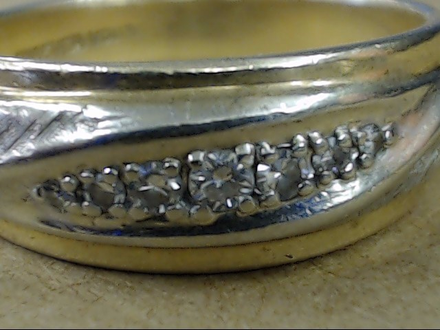 VINTAGE 7 DIAMOND WEDDING RING BAND SOLID REAL 14K GOLD MENS SIZE 10