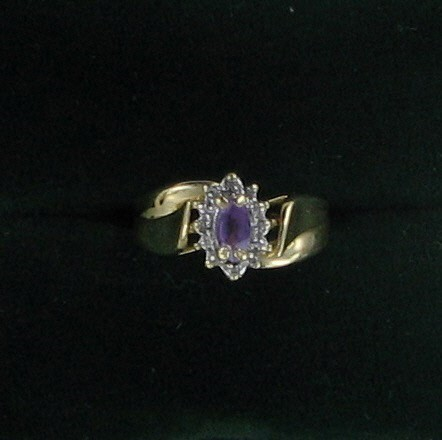 Synthetic Amethyst Lady's Stone Ring 14K Yellow Gold 1.6dwt