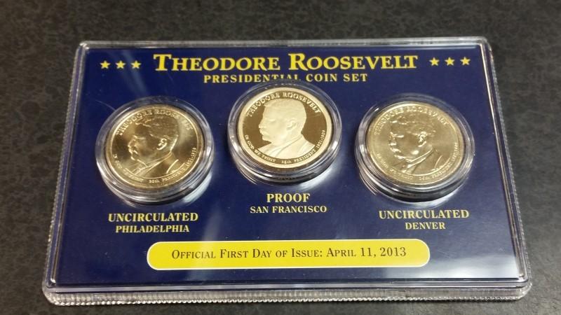 Theodore Roosevelt Presidential 3 Cion Set Unc D & Unc P & Proof Coin