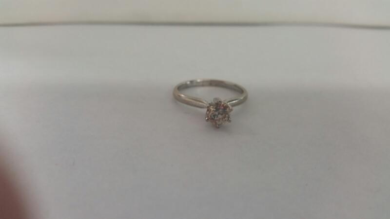 Lds 14K-W/G Diamond Solitaire Engabement Ring .75CT