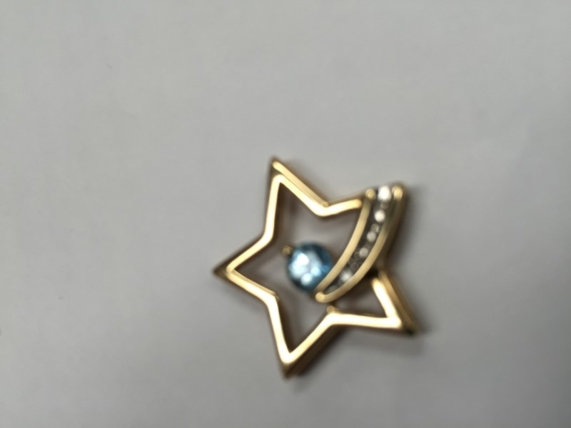 Shooting star Blue Stone Gold-Diamond & Stone Pendant