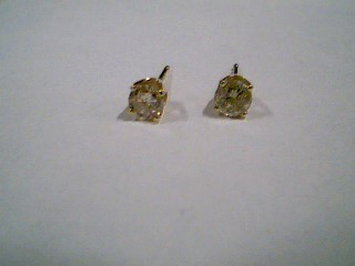Gold-Diamond Earrings 2 Diamonds .30 Carat T.W. 10K Yellow Gold 0.6g