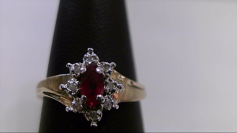 marquise Ruby Lady's Stone & Diamond Ring 1/10 Carat T.W. 10K Yellow Gold 2.6g
