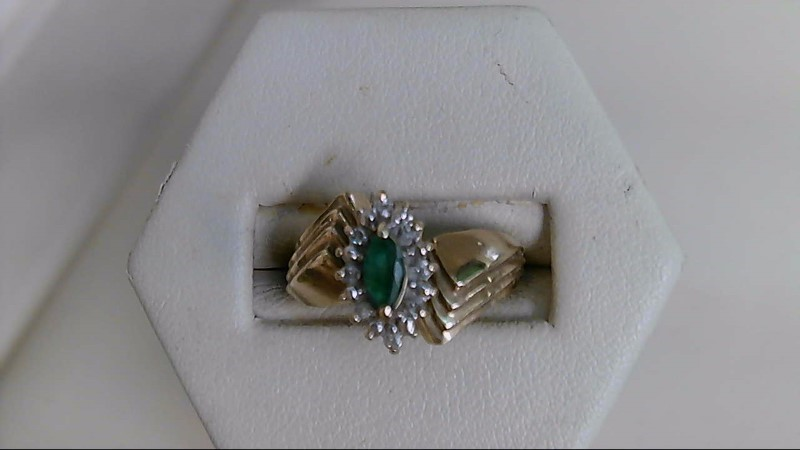 Emerald Lady's Stone & Diamond Ring 8 Diamonds .08 Carat T.W. 10K Yellow Gold
