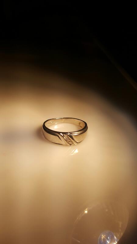 Gent's Diamond Fashion Ring 3 Diamonds .06 Carat T.W. 10K White Gold 4.2g