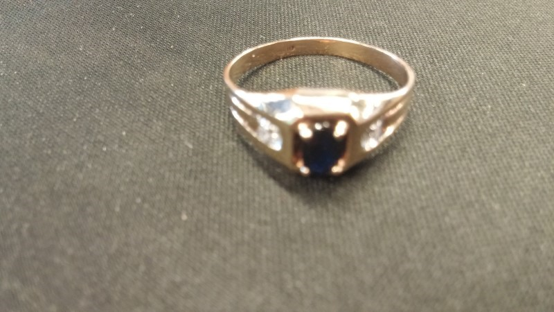 GENTS 10KT Synthetic Sapphire Gent's Stone Ring BLACK STONE 14K Yellow Gold