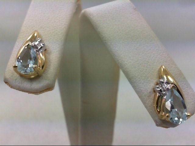 Blue Stone Gold-Diamond & Stone Earrings 2 Diamonds .02 Carat T.W.