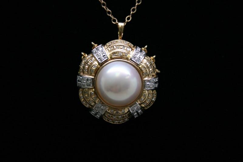 FASHION STYLE DIAMOND & PEARL BROOCH/PENDANT 14K YELLOW GOLD