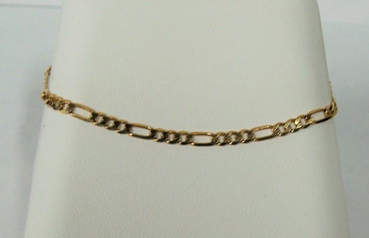 Gold Figaro Bracelet 14K Yellow Gold 2.48dwt