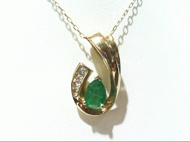 Emerald Gold-Diamond & Stone Pendant 3 Diamonds .13 Carat T.W. 10K Yellow Gold