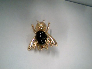 Synthetic Onyx Gold-Stone Brooch 14K Yellow Gold 3.4g