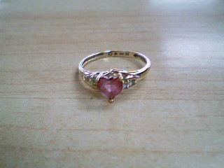 Pink Stone Lady's Stone Ring 10K Yellow Gold 1.7g Size:7