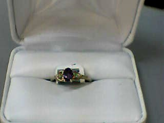 Synthetic Alexandrite Lady's Stone Ring 10K Yellow Gold 1dwt Size:6.5