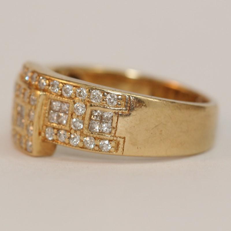 Unique Squared 14K Y/G Round Brililant Diamond Cluster Ring Size 7