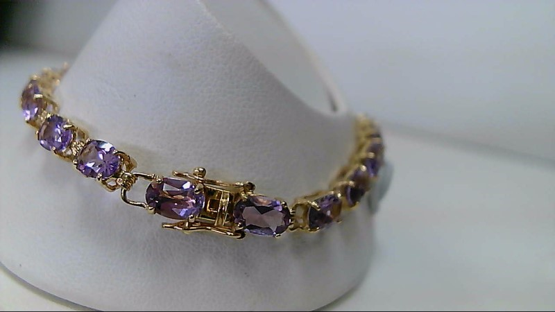 ESTATE YELLOW GOLD 21-6X4 OVAL AMETHYST LADIES FASHION BRACELET
