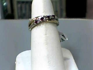 Synthetic Ruby Lady's Stone & Diamond Ring 3 Diamonds .03 Carat T.W.