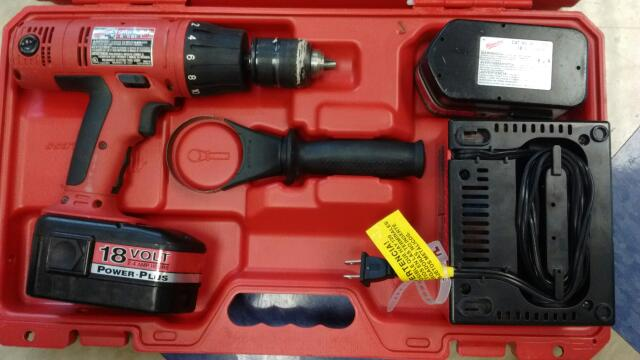 "Milwaukee 18V 1/2"" Cordless Electric Hammer Drill Kit"