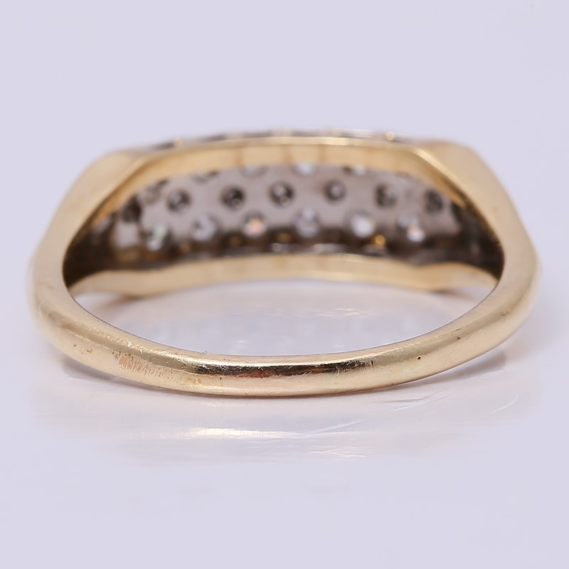 14K Yellow Gold Bead Set Diamond Cluster Ring Size 7.8
