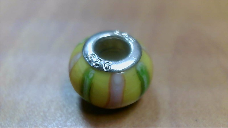 Yellow Pink and Green Stripe Glass Bead 925 Silver