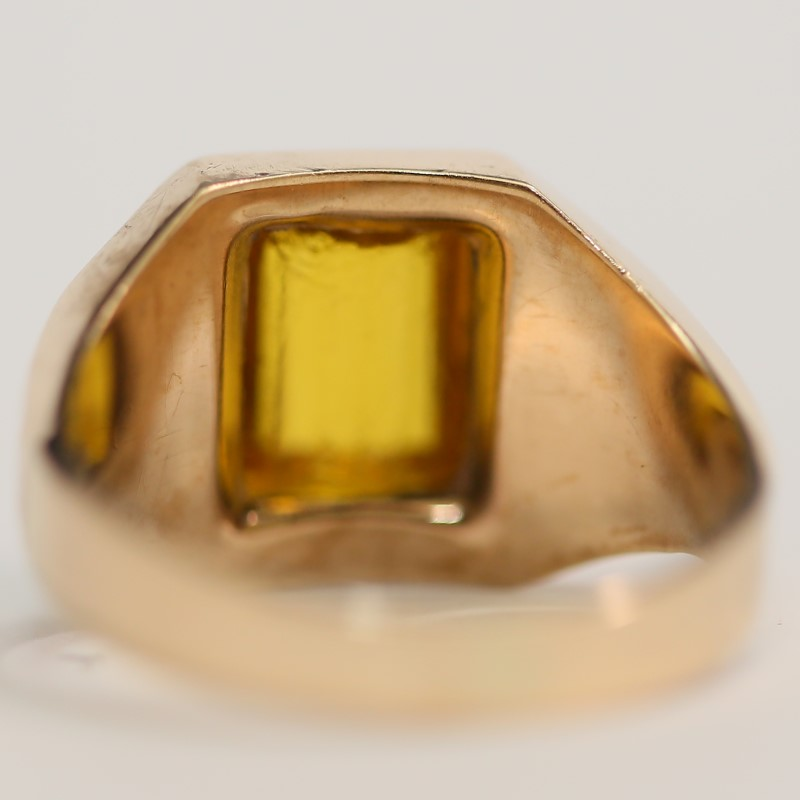 10K Yellow Gold Emerald Cut Synthetic Citrine Ring Size 10