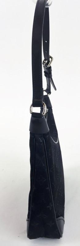 LOUIS VUITTON MONOGRAM BLACK SATIN LITTLE BOULOUGNE HANDBAG SHOULDER BAG
