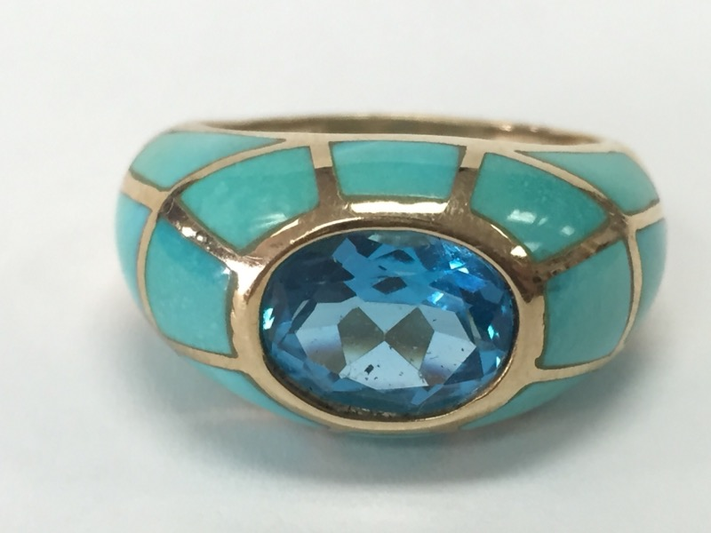 LADY'S BLUE TOPAZ/TURQUOISE RING, SIZE 7, 10K YELLOW Q,