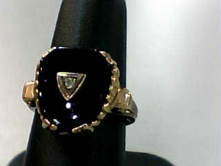 Synthetic Onyx Lady's Stone & Diamond Ring .02 CT. 10K Yellow Gold 2.8dwt