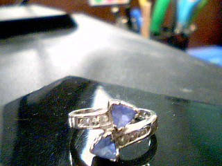 Synthetic Tanzanite Lady's Stone & Diamond Ring 6 Diamonds .18 Carat T.W.