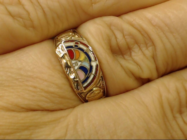 VINTAGE MASONIC BFCL RAINBOW RING SOLID REAL 10K YELLOW GOLD SZ 6.5