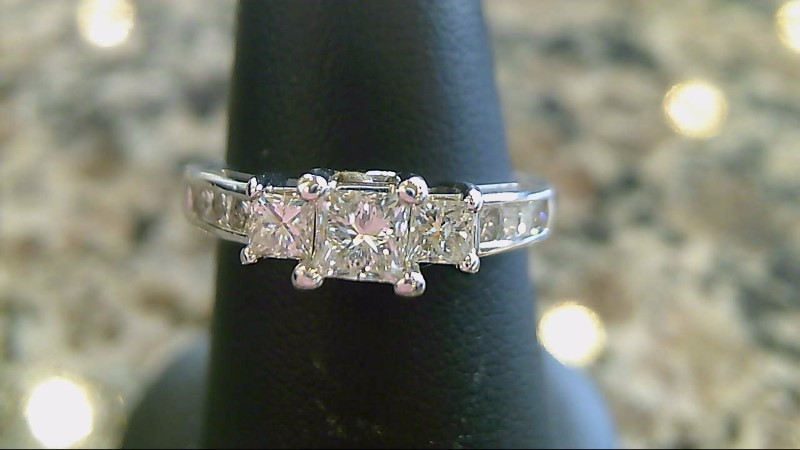 Lady's Diamond Engagement Ring 7 Diamonds .68 Carat T.W. 14K White Gold 4.8g