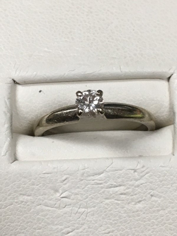 Lady's Diamond Solitaire Ring .20 CT. 14K White Gold 1.6dwt