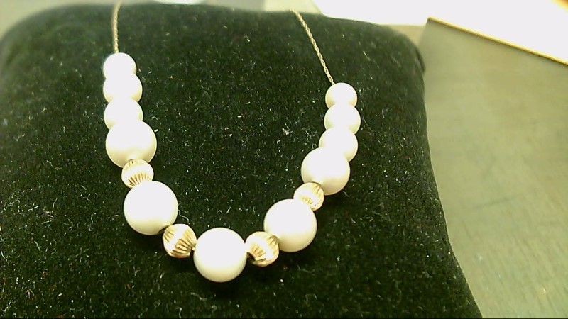 Synthetic Pearl Stone Necklace 14K Yellow Gold 4.2g
