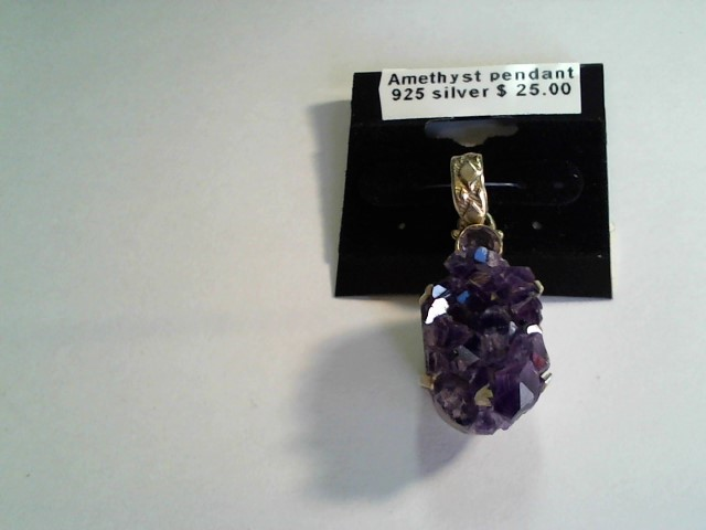 .925 SILVER AMETHYST GEODE CRYSTAL PENDANT AND A 6MM ROUND AMETHST 23X15MM OVER