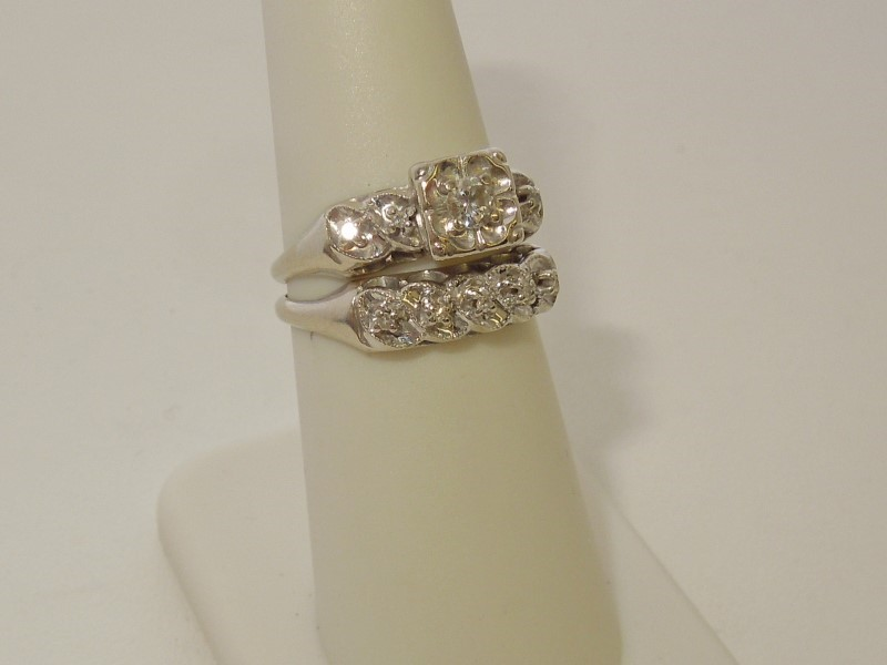 Lady's Diamond Solitaire Ring 10 Diamonds .22 Carat T.W. 14K White Gold 4.2g