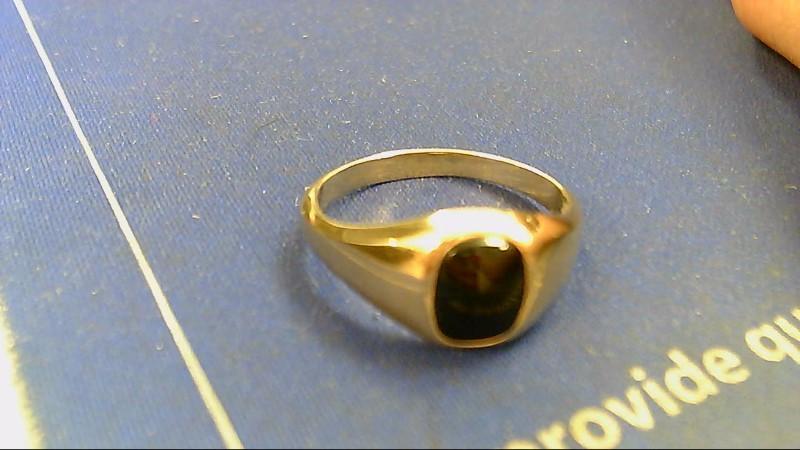 Black Stone Gent's Stone Ring 20K Yellow Gold 5.2g