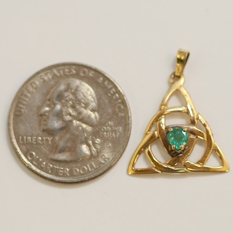14K Yellow Gold Triangle Shaped Emerald Centered Celtic Knot Pendant