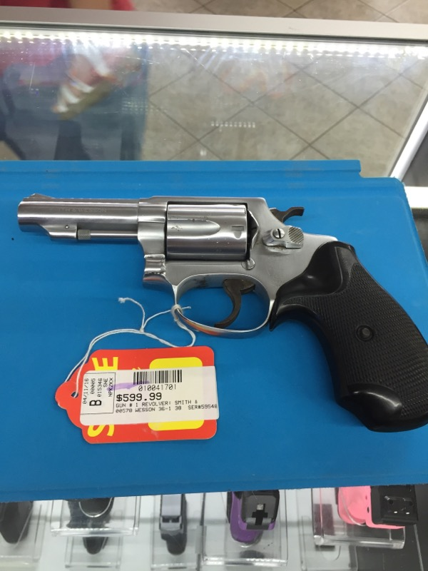 SMITH_&_WESSON 36-1 REVOLVER S & W 38 SPECIAL  NICKLE