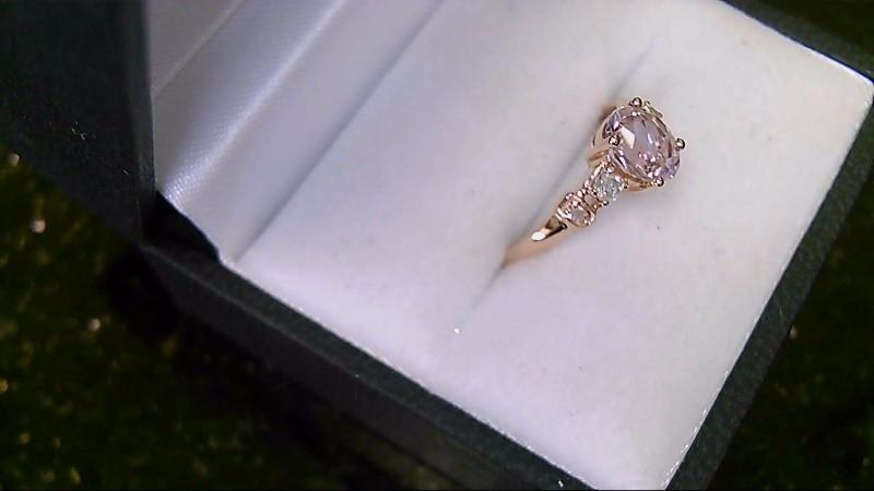 Morganite & Diamond 10K Yellow Gold Ring