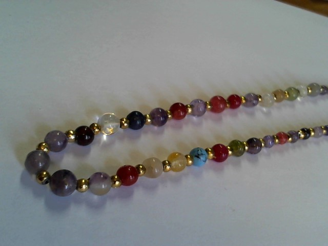 "MULTI COLORED GEMSTONE NECKLACE 16"" NAT. GEMSTONES"