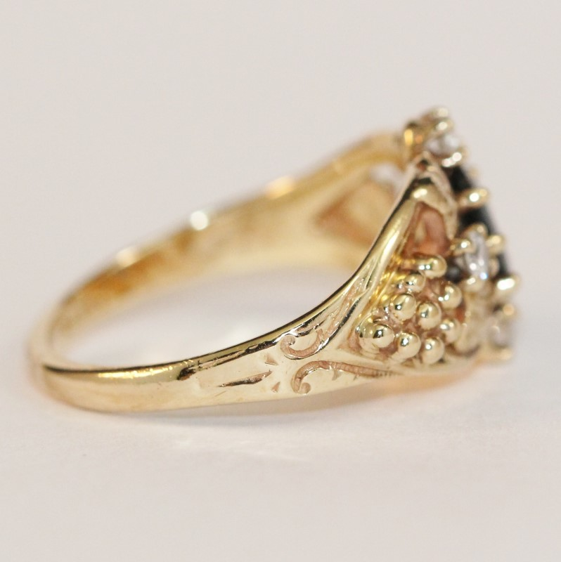 Vintage Inspired 14K Yellow Gold Sapphire and Diamond Ring Size 5
