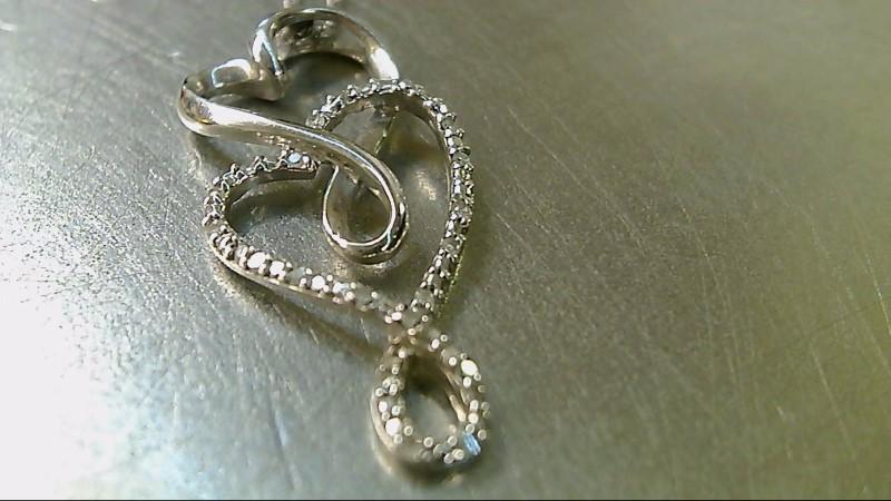 Silver Necklace 20 Diamonds .10CTW 2.85g