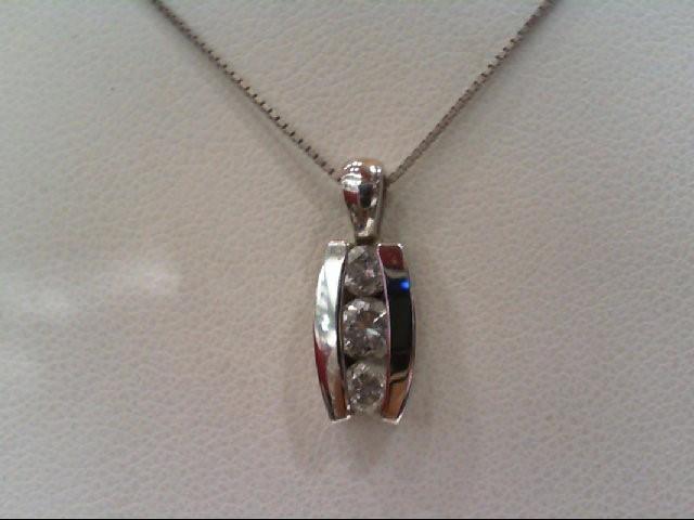 Gold-Multi-Diamond Pendant 3 Diamonds .38 Carat T.W. 14K White Gold 2.6g