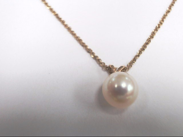 "8MM PEARL PENDANT ON 18"" 14 KTYGLD CHAIN"