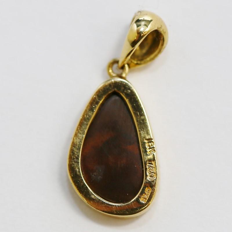 18K Yellow Gold Cabochon Cut Opal Pendant