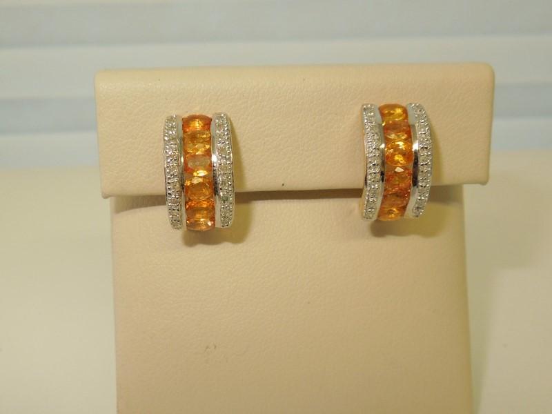 CITRINE & DIAMOND EARRINGS - 14K GOLD