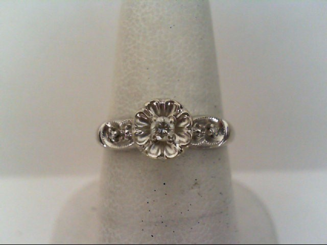 Lady's Diamond Engagement Ring 5 Diamonds .08 Carat T.W. 14K White Gold 2.5g